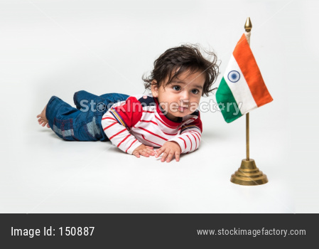 cute little Indian baby boy with indian flag / tricolour