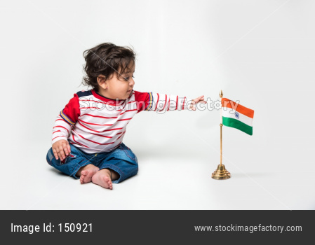 cute little Indian baby boy with indian flag