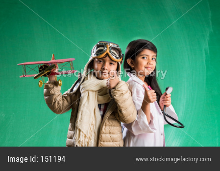 Cute little indian kids as doctor and pilot