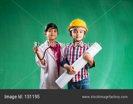 Cute little indian kids as doctor and architect/engineer