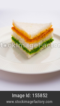 Tricolor Tiranga sandwich for Indian republic day or independence day greetings