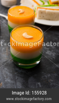 Tiranga / Tricolour sweet kheer or pudding for independence day / republic day celebration