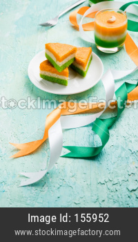 Tiranga Cake or Tricolour pastry for independence day / republic day celebration