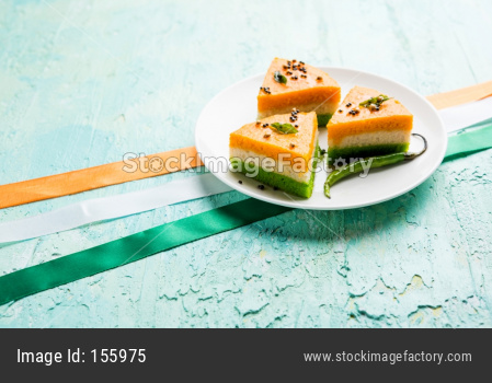 Tri-coloured / tiranga  khaman Dhokla for Independence/republic Day celebration