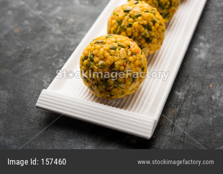 Sweet Bundi laddoo / laddu / Ladu made up of lots of dry fruits and big in size