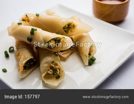 Paneer chilli cigar snacks or starter for party