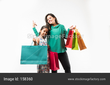 Mother Daughter with Shopping Bags