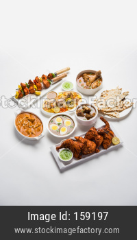 Non veg food in group, selective focus