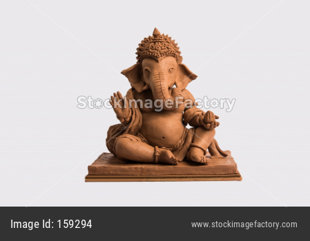 eco friendly Ganesh/Ganpati idol or murti, home made. selective focus