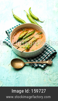 Hyderabadi mirchi ka Salan or green chilly sabzi or curry. Main course recipe from India. served in a bowl. selective focus
