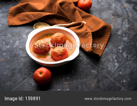 Tomato Salan or Tamatar sabzi or curry. Main course recipe from India. served in a bowl. selective focus