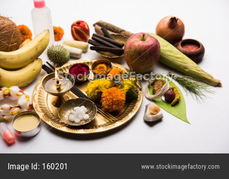 Pooja Material / Puja Sahitya in Hindu Religion from India, arranged in a group. selective focus