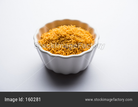 Aloo Bhujiya or Potato Bhujia also known as Namkeen sev. Popular Bikaneri recipe served in a bowl or plate. selective focus