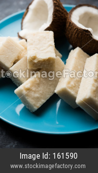 Coconut Burfi / Kopra Pak/ Fresh Nariyal Fudge, selective focus