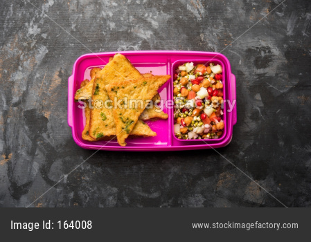 Lunch Box / Tiffin for Indian kids, includes bread Omelette pakora with tomato ketchup or sprouts, selective focus