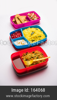 group of Lunch Box / Tiffin for Indian kids, showing variety or multiple option or combination of healthy food for your school g