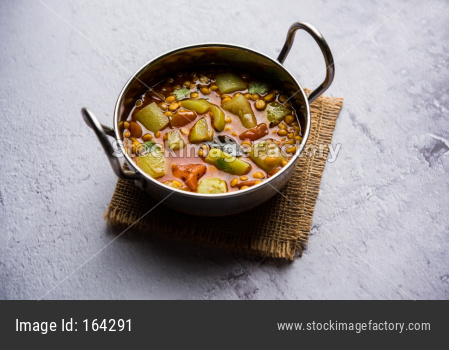 Lauki / Doodhi Chana Dal Subji or Bottlegourd Gram Curry, served in a bowl.selective focus