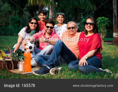Indian Family enjoying picnic / outing