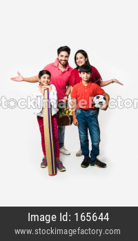 Indian young Family of four going for Picnic