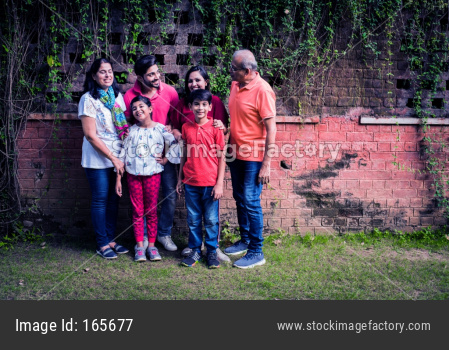 Multi generation Indian family of six standing against brick wall in park or garden and having fun, healthy family life concept