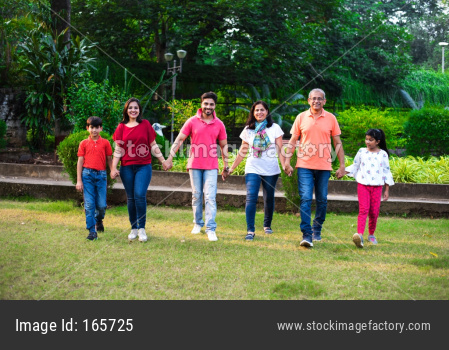 indian family playing outdoor game or walking