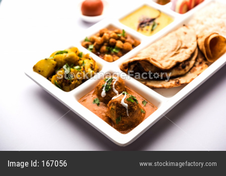 Indian vegetarian Food Thali or Parcel food-tray