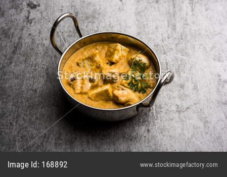 Mushroom Paneer curry or sabzi, served in a bowl. selective focus