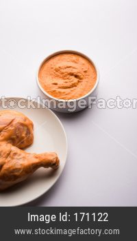 Homemade Tandoori Paste or Marinade mixture, in a bowl. used for grilled chicken or Paneer or vegetable. selective focus