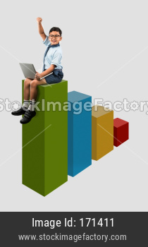 School boy with laptop sitting on top of colourful wooden steps - success concept