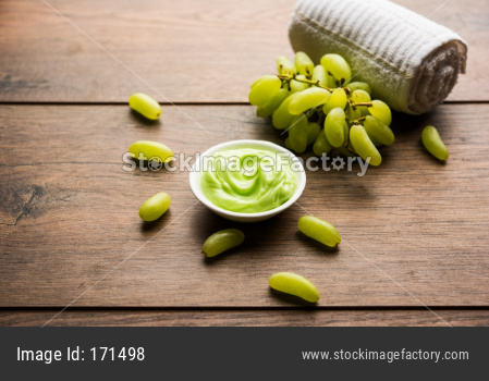 Green grapes, yogurt and honey mix face mask or cream for skin dark spot removal treatment, created using Angoor extract, curd a