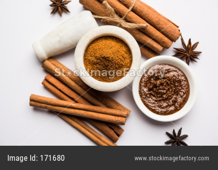 Cinnamon Honey Ayurvedic Face mask made using daalacheenee or Dalchini powder mixed with Shahad, selective focus