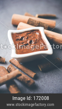 Ayurvedic Liquorice sandalwood Face Mask made using Mulethi or jeshthamadh and Chandan powder. selective focus