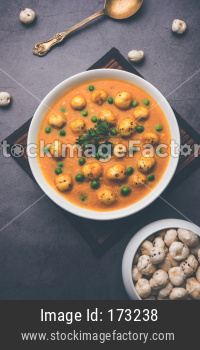 Phool Makhana matar Sabzi or Lotus Seeds Peas Curry