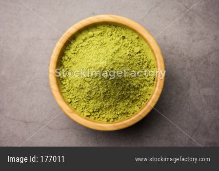 Herbal henna or Mehandi powder in a bowl