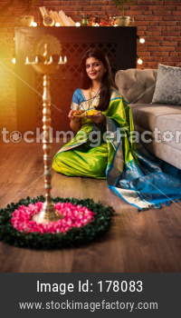 Indian woman / Girl with puja Thali