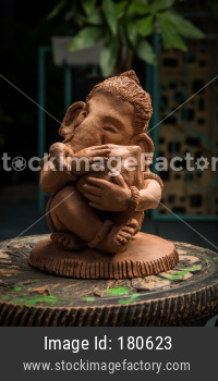 Homemade eco friendly ganesha idol using clay