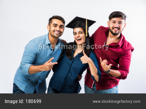 Indian graduate girl student celebrating success with friends
