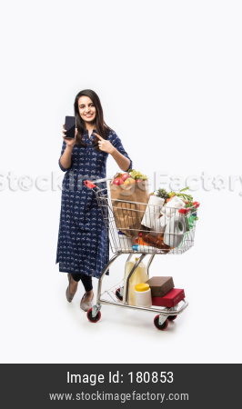 Indiam Family With Shopping Cart