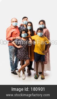 Indian family of six wearing mask