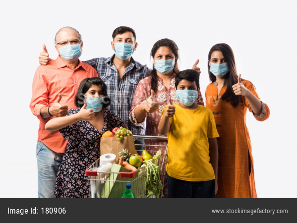 Indian Family Wears Face Mask