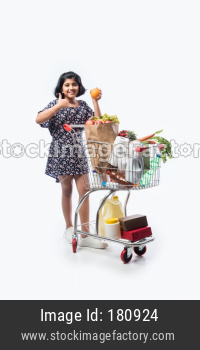 Indian cute little girl with shopping cart or trolly full with grocery, vegetables