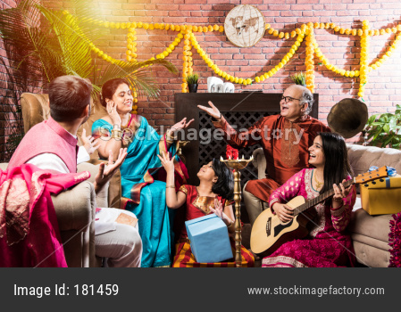 Indian family playing music