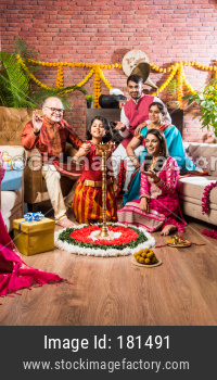 Indian family celebrating festival