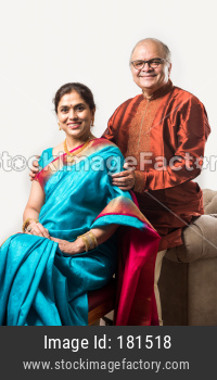 Portrait of Indian senior couple in traditional wear