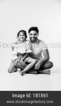 Indian girl or daughter with father or dad