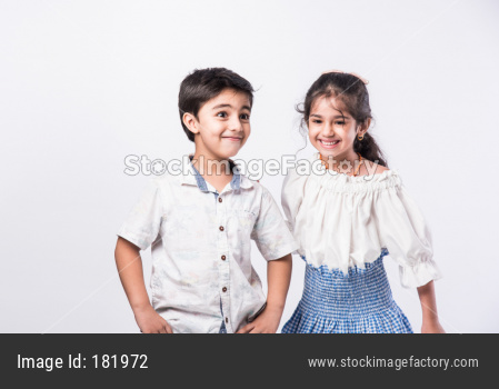 Indian small boy with little sister